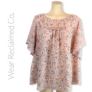 LOVE & LEGEND Pink Floral Batwing Blouse Top